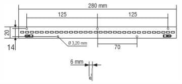 """מודול לד סרגל באורך 280 מ""""מ בהספק 12.5W"""