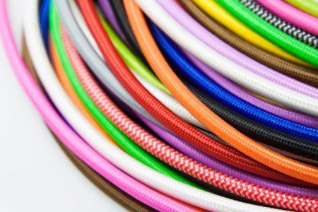 כבל בד תלת גידי מפותל במגוון צבעים
