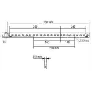 """מודול לד סרגל באורך 560 מ""""מ בהספק 12.5W"""